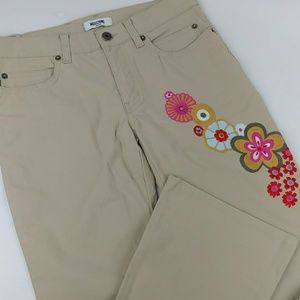 Moschino DONNA Embroidered Bootcut Khakis Twill